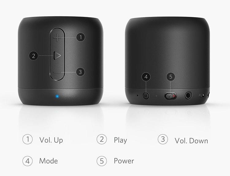 Những phím chức năng cơ bản Loa Bluetooth Anker SoundCore Mini