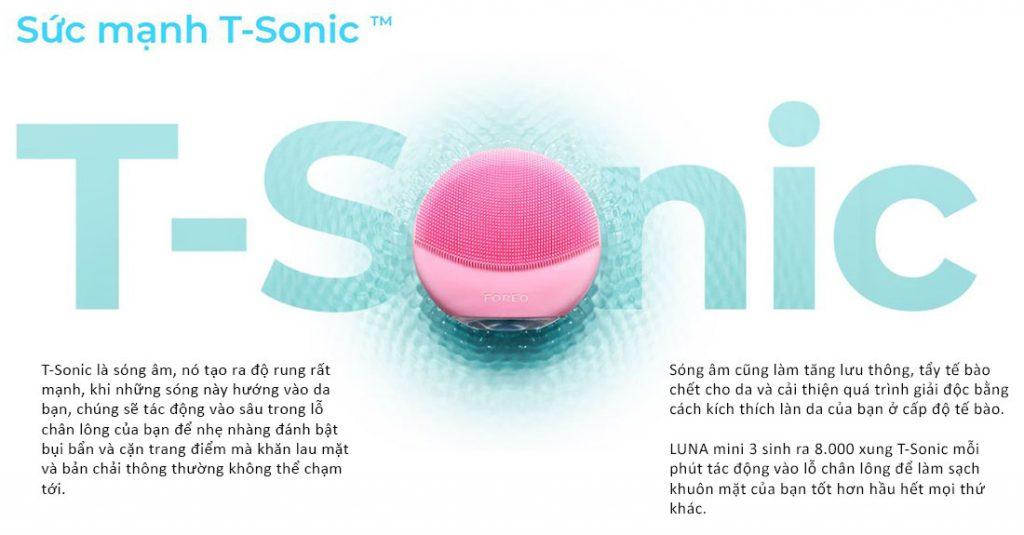 Máy rửa mặt Foreo Luna Mini 2 vượt trội về công nghệ T-Sonic