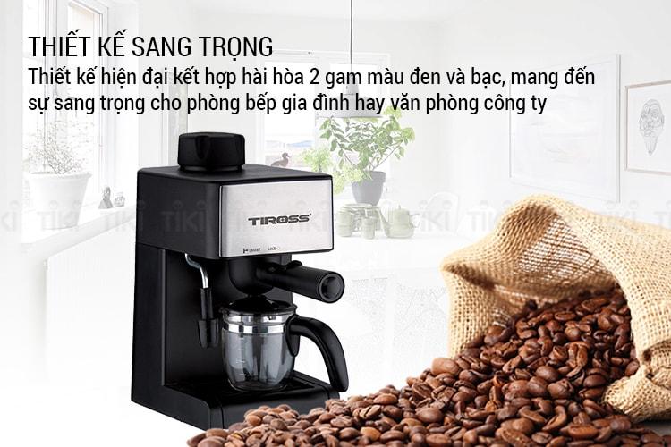 Máy Pha Cà Phê Espresso Tiross TS-621 có thiết kế nhỏ gọn, sang trọng