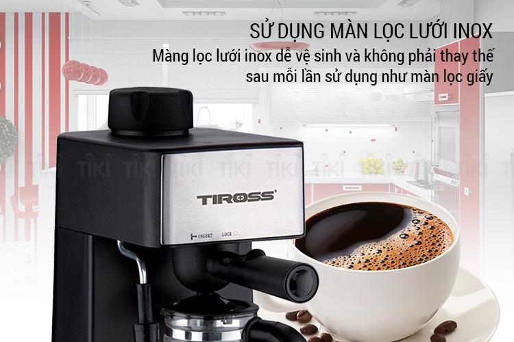 Máy pha cà phê espresso Tiross TS621 được thiết kế với màn lọc lưới inox